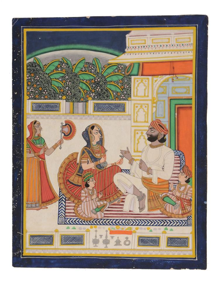 An Indian painting of a couple on a terrace , Bundi or Kota, Rajasthan