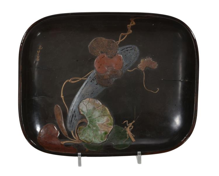 A Japanese Ritsuo Style Lacquered Basket of shallow rounded rectangular form