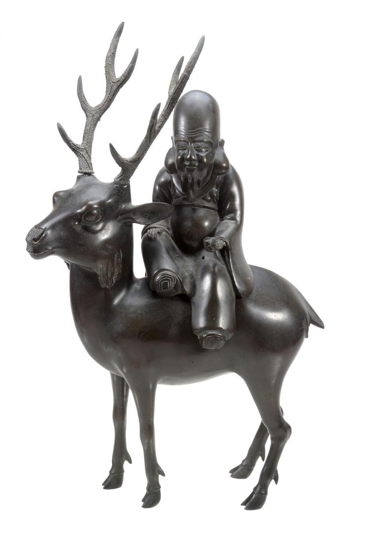 A Bronze Model of Fukurokuju seated on a Deer