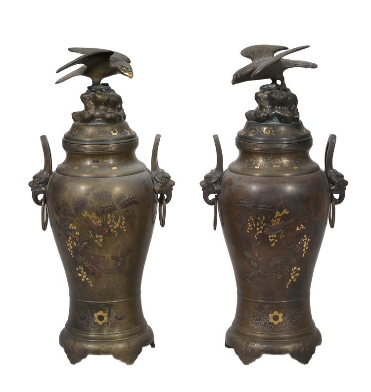 A Pair of Japanese Bronze Vases, each of inverted baluster form with splayed...