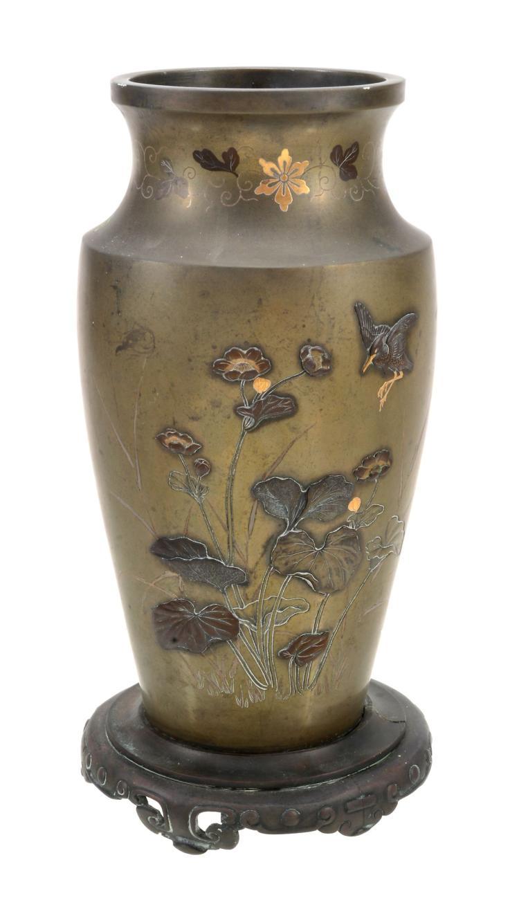 A Japanese Bronze Vase, Meiji-Taisho Period