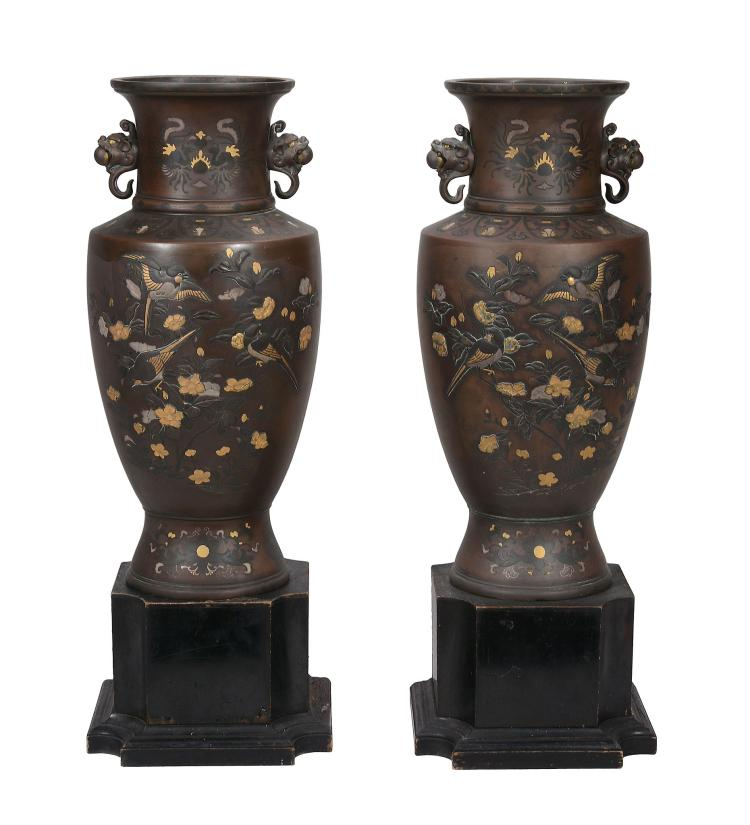 A Large Pair of Japanese Mixed Metal Vases