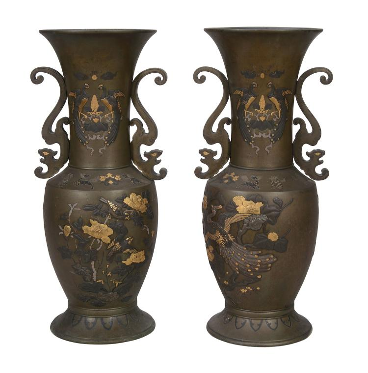 A Large Pair of Japanese Multi-Metal Vases, Meiji Period