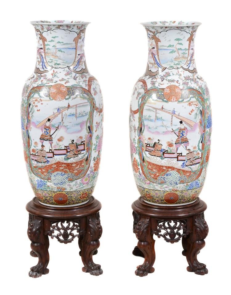 A Large Pair of Fukugawa Porcelain Vases, each of cylindrical form resting...