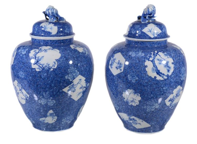 A pair of Japanese Hirado blue and white vases and covers , Meiji-Taisho period