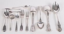 A collection of silver flatware, to include