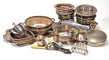 A collection of plated items, including: a pair of candlesticks