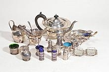 A collection of silver and silver plate, including