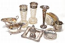 A collection of silver and silver mounted items, to include