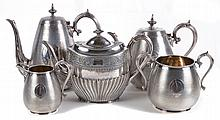 An electro-plated five piece tea and coffee service