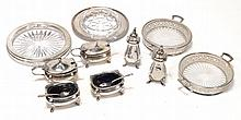 A collection of silver, to include: a three piece baluster condiment set by E