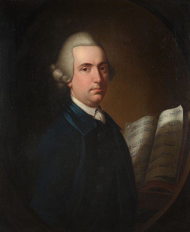 Richard Phelps (1710-1785) - Portrait of a gentleman, half-length, before open sheet music