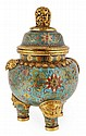 A cloisonné enamel incense burner and cover, the