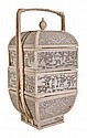 A Chinese Canton ivory three-tier food box of