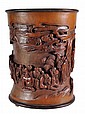 A Large Bamboo Brush Pot of typical cylindrical