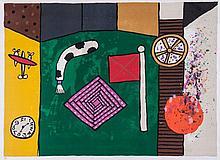 Alan Davie (b.1920) - Flag, Clock and Motifs
