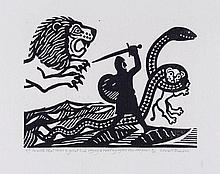 Edward Bawden (1903-1989) - With That Came a Great Lion Crying & Roaring After the Serpent