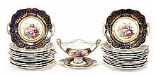 An English porcelain part dessert service,