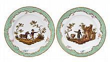 A pair of Coalport porcelain fable plates, each
