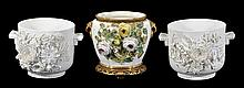 An English porcelain flower-encrusted jardiniere,