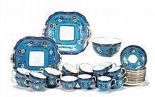 A Minton bone china 'cloisonne' part tea service,