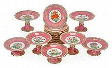 An English porcelain pale-pink-ground part dessert