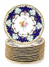Twelve Royal Crown Derby floral dessert plates
