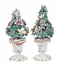 A pair of Bow models of flower-pots, modelled en