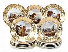 Thirteen Derby porcelain landscape plates, each