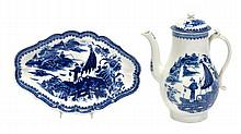 A Caughley blue and white baluster coffee pot and