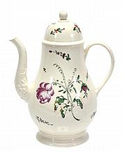 An English creamware baluster coffee pot and