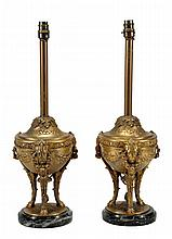 A pair of gilt metal and Italian serpentine marble