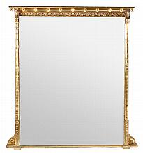 A Victorian giltwood and composition overmantle