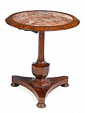 A William IV rosewood and marble inset circular