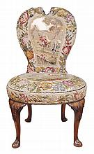 A walnut and needlework upholstered side chair, in