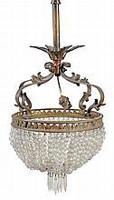 A Continental gilt bronze and cut glass hung