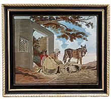 A Regency woolwork picture, circa 1815, depicting