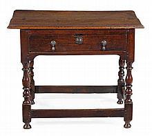 A Queen Anne oak side table, circa 1710, the