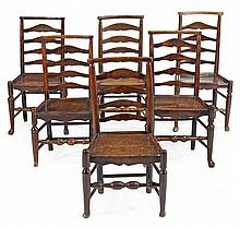 A set of six ash and oak ladderback dining chairs,