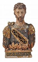 A carved and polychrome painted wood reliquary