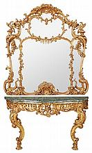 A carved giltwood and marble mounted console table