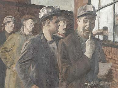 Roger Hampson (20th century) Pay day Oil on board
