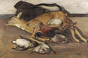 Julien Creytens (1897-1972) The day's bag Oil on
