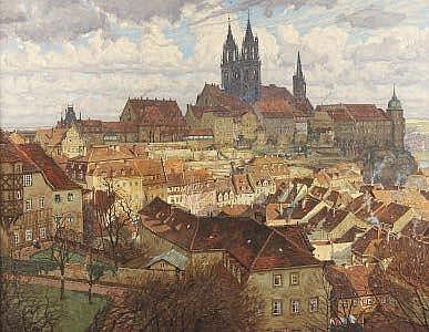 Fritz Beckert (1877-1962) A German cityscape Oil