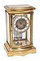 A French gilt brass four-glass mantel clock Samuel