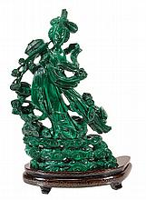 A Chinese malachite carving of a maiden immortal,