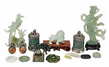 A collection of modern jade items including a