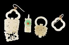 Four Chinese jade earrings, Qing dynasty,