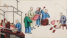 A Chinese pith paper drawing depicting a family