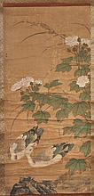 A Chinese scroll painting in inks and colours on